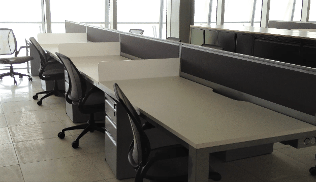 Row of desks and chairs