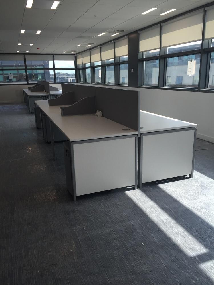 Bank of desks and screens