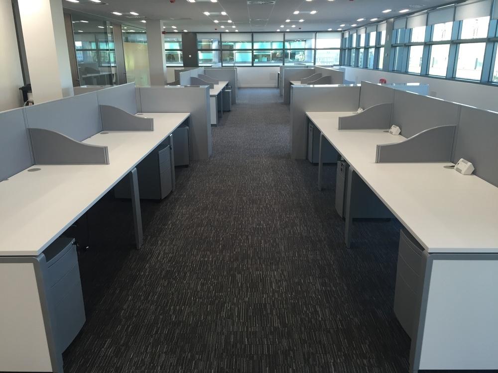 Row of ergo desks and screens